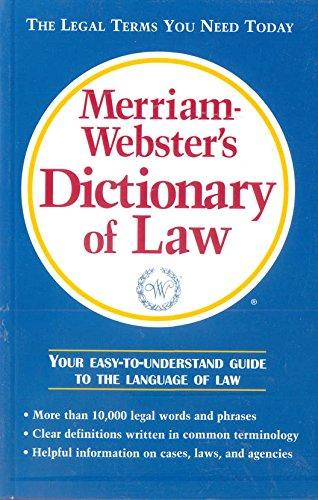 Merriam-Webster�S Dictionary Of Law